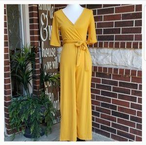 Fashion Nova Yellow Ribbed Short Sleeve Jumpsuit